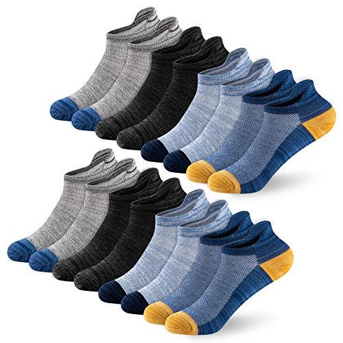 Newdora Chaussettes Hommes et Femme, 8 Paires Sport Coton Socquettes Courtes Basses Respirantes, Chaussette Hommes Antiderapante pour Baskets,43-46