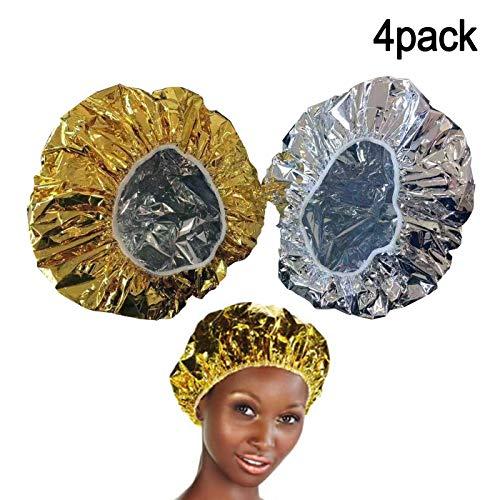 4PCS Bonnet Chauffant Pour Soins Capillaires, Bonnet du Salon Auto Chauffant Cheveux pour Masque-Charlotte auto chauffante : 2 Or & 2 Argent