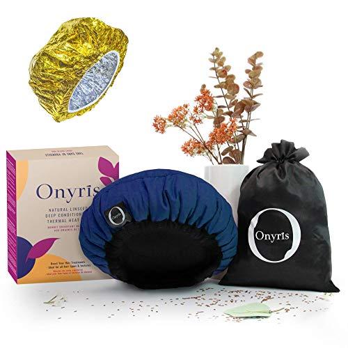 Bonnet Chauffant pour Soins Capillaires, Onyris, Charlotte Chauffante Cheveux, 100% Naturel aux Graines de Lin pour Tous Types et Textures de Cheveux