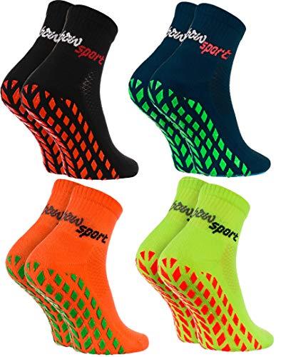 Rainbow Socks - Femme Homme Chaussettes Antidérapantes de Sport - 4 paires - Bleu Noir Orange Vert - Taille 36-38