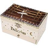 TROUSSELIER - Ballerina le Film - Boîte à Bijoux Musicale - Idéal Cadeau Jeune Fille - Phosphorescent - Brille dans la nuit - Musique Lac des Cygnes - Colori Ivoire