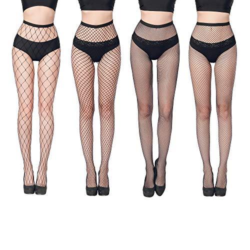 FLORA GUARD Collant résille maille, 4 paires de collants à taille haute avec 4 types, Sexy élastique (Noir)