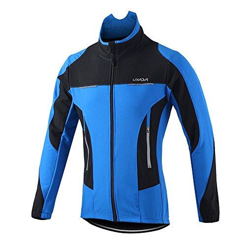 Lixada Vélo Veste Hommes en Plein Air Hiver Thermique Respirant Confortable Manches Longues Manteau Résistant À l'eau Équitation Vêtements De Sport,Bleu,S(EU)