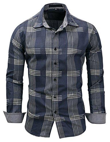 Pinkpum Homme Chemise en Coton à Carreaux Slim Fit Manches Longues Basic Business Loisirs,Bleu...