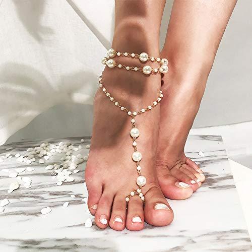 Anglacesmade Bracelet de cheville bohème avec perles et anneau d'orteil, pour la plage, les mariages, les sandales pieds nus, pour femmes et filles