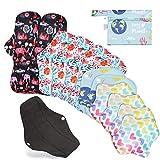 Rovtop Serviettes Hygiéniques Lavables Menstruelles au Charbon de Bambou, 12 pièces en 4 tailles Serviettes Hygiéniques Réutilisables avec 1 mini sac Portatif