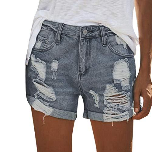 Holywin Short en Jean Taille Haute Femme Pantalon Fleur Shorts en Denim décontractés à la Mode (Bleu4, Small) prix et achat