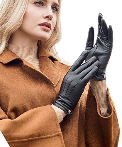 YISEVEN Gants Cuir Femme Hiver Chaud Gant Tactile Chauffant Double avec Bouton Peau de Mouton...