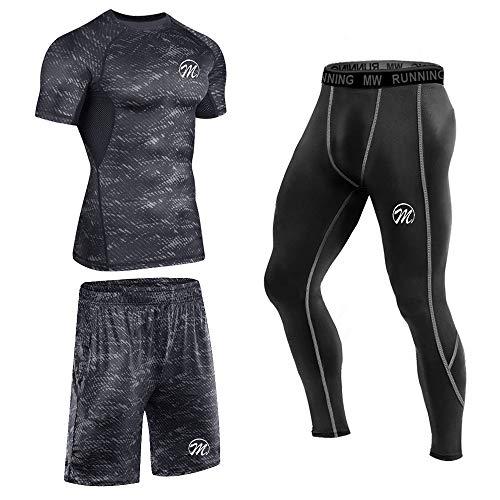 MEETEU Ensemble Compression Homme Tenue Sport Fitness Vêtement Running Tee Shirt Compression...