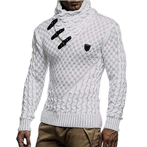 Susenstone Pull Col Roulé Homme Pas Cher A La Mode Vintage Hiver Chaud Manche Longues Col ChâLe Slim Tricoté Pullover en Maille prix et achat