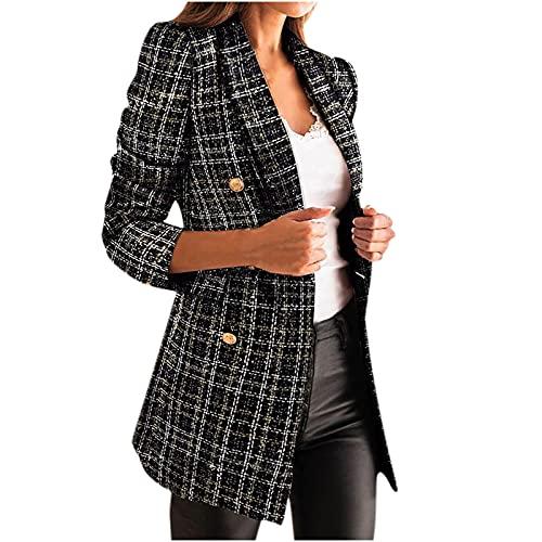 Komiseup Blazer pour femme avec motif pied-de-poule élégant manches longues combinaison deux rangs décontracté veste d'hiver, Noir , XL