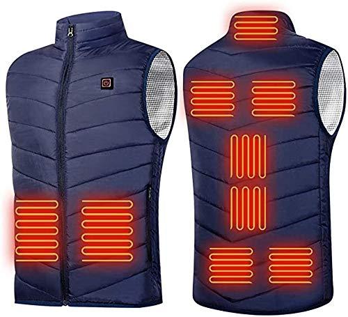 Gilet chauffant 9 places pour homme et femme avec port USB - Vêtement thermique pour la chasse - Veste chauffante d'hiver - Taille S à 6XL - Couleur : bleu, taille : XL