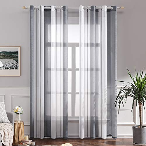 MIULEE Lot de 2 Décorative Rideaux Voilage Imprimes Fenêtre...