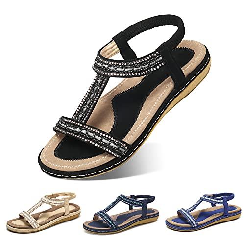 Camfosy Sandales Femmes Plates Été, Chaussures Été Nu Pieds à Talons Plats Claquettes...
