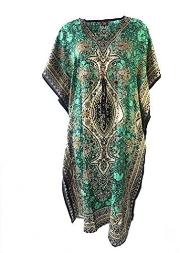 Kaftan Longues Oriental Style Caftan Polyester Boubou Africaine Robe ete Kaftan djellaba Femme Boheme Plage Beachwear Oversize Caftan (Petrole, Taille Unique)