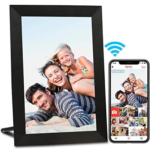 AEEZO Cadre Photo Numérique WiFi 9 Pouces IPS à Écran Tactile HD, Rotation Automatique, Configuration Facile pour Partager des Photos et des Vidéos, Cadre Photo Numérique Smart à Montage Mural (Noir)