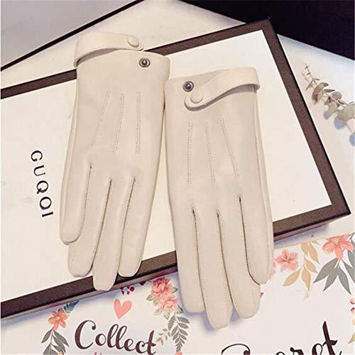Gants en Cuir Gants en Peau De Mouton Dames Femmes Gants Warm Plus Boutons en Velours Multicolore, Beige, L prix et achat