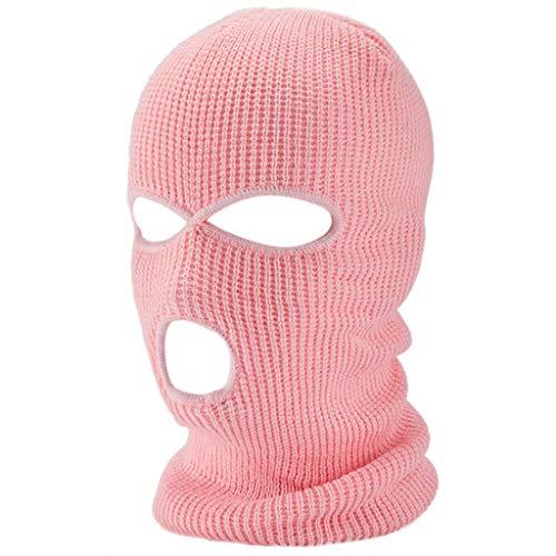 RK-HYTQWR Halloween 3 Trous tricoté Couverture intégrale Hiver Chaud néon Cagoule Masque...