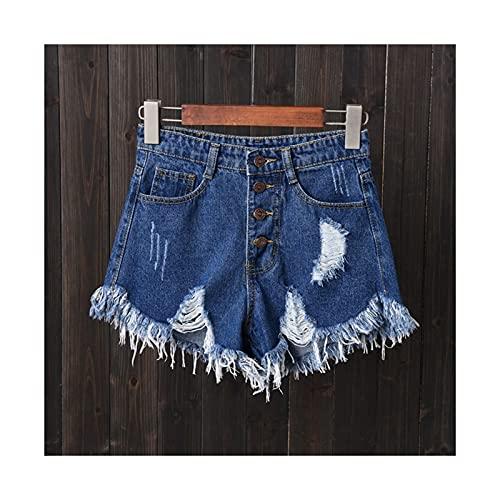 Plus Taille Vintage Hole Déchiré Fringe 5 Couleurs Denim Shorts Femmes Casual Jeans Shorts Summer Girl Short (Color : Blue, Size : L.) prix et achat