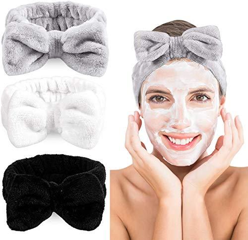 Queta 3 pièces bandeau de maquillage, bandeaux élastiques à nœud, bandes de cheveux souples, bande de maquillage en peluche pour douche SPA Yoga Sports (Type1)