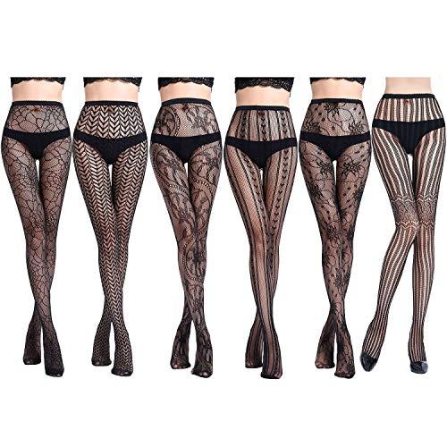 Comius Sharp 6 Pack Noir Collants Bas Résille, Sexy Extensible Dentelle Bas Résille motifs Fleurs prix et achat