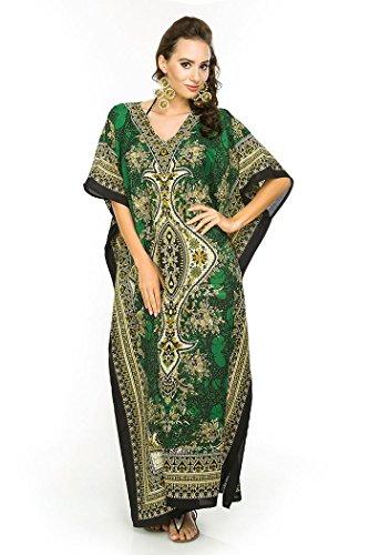 Looking Glam Neuf Femmes Surdimensionné Maxi Kimono Tunique Caftan Robe Caftan,Vert -...