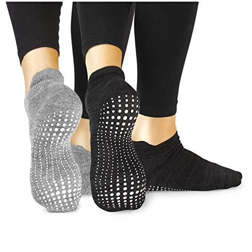 LA Active Grip Chaussettes Antidérapantes - Pour Yoga Pilates Barre Ballet Femme Homme (Gris...