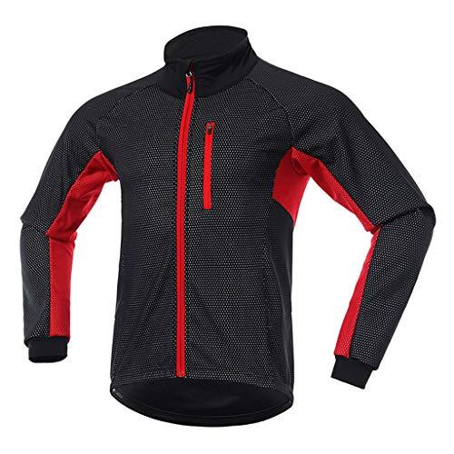 Veste Cycliste Homme Hiver VTT Velo Blouson Chaud Imperméable Thermique Réfléchissant Chaud Respirant Coupe Vent pour Le Cyclisme en Plein air,Rouge,L