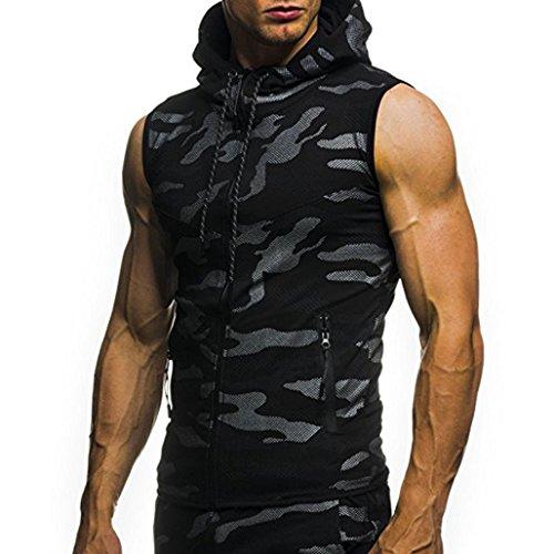 Tefamore T-Shirt Top Vest Blouse Homme été Casual Camouflage Imprimer Capuche sans Manches (XXXL, Noir)
