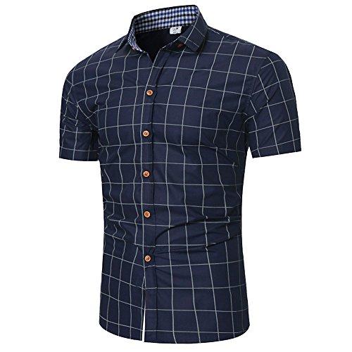 Chemise Homme à Carreaux Manches Courtes Slim Fit Infroissable sans Repassage Pas Cher T Shirt De Business (M, Bleu Marine) prix et achat