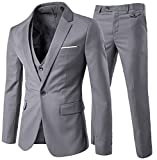 Costume homme Un Boutons Mode Slim fit Trois Pièces Elégant Business Mariage -Gris Clair - Taille S
