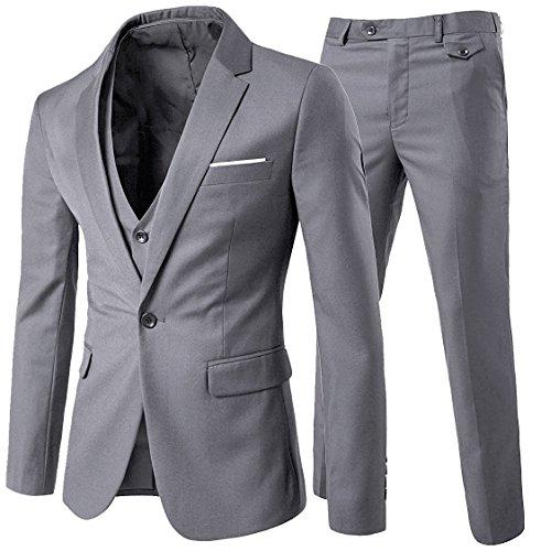 Costume homme Un Boutons Mode Slim fit Trois Pièces Elégant Business Mariage -Gris Clair -...