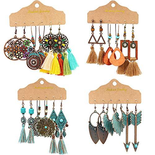 GOTONE 12 paires Boucles d'oreilles bohème Strass rétro vintage Boucles d'oreilles pendants Boucles d'oreilles Boho pour les femmes filles fournitures