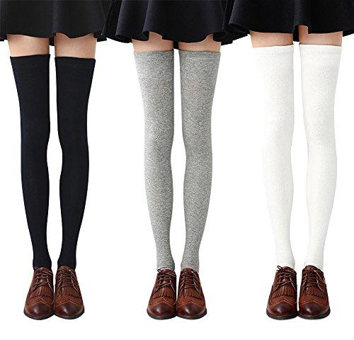 Chalier 3 paires Chaussettes Hautes Montantes Femme Chaussettes de Genoux Longues Style Simple,Noir+Gris+Blanc,Taille unique prix et achat