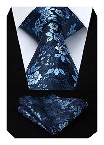 HISDERN Ensemble cravate et mouchoir à motif cachemire fleuri extra long pour homme