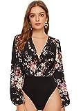 SOLY HUX Femme Body Col Fond V avec Manches Bouffantes et Imprimé Floral Élégant Printemps/Automne Noir XL