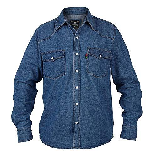 Duke Rockford Chemise en jean pour homme grande taille, bleue, manches longues XXXXXXL vert prix et achat