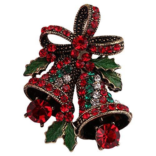 Luckyx Broche de Noël vintage Mode Strass Broche pour femmes Vintage Cloche Broche Costume Broche Pull Joyeux Noël Bijoux Etoile de Noël Fleur Arbre Décoration Pin or