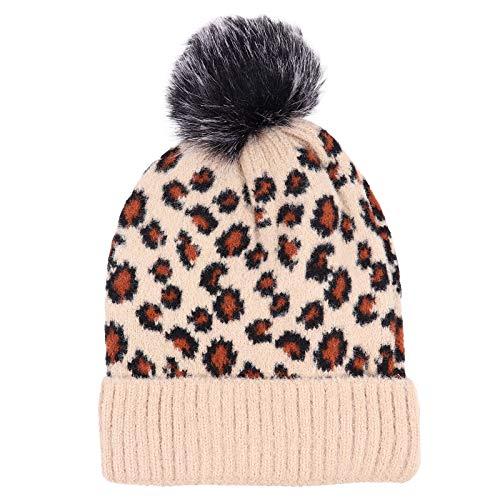 Bonnet en laine pour femme Léopard Bonnet avec pompon en fourrure Chaud Bonnet d'hiver Chapeau de voyage Accessoire