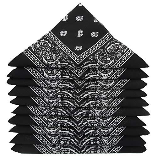 KARL LOVEN Lot de 5 bandanas 100% Coton paisley foulard fichu 25 couleurs au choix (Lot de 5 identiques, Noir)