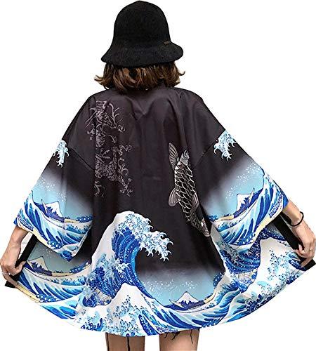 DOVWOER Kimono d'été pour femme Veste légère avec manches 3/4 Style décontracté Parfait pour la plage - Noir - taille unique