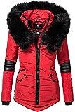 Navahoo Nirvana Veste d'hiver pour Dame avec Une Capuche en Fausse Fourrure Noire Rouge XS