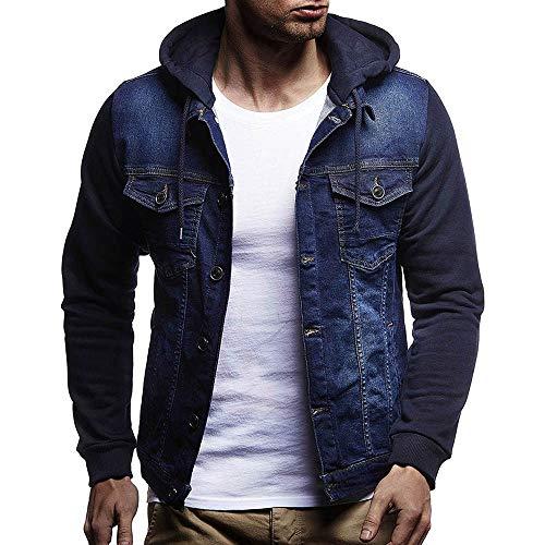 Jean Hoodie avec Capuche Homme Slim,Overdose Automne Hiver Manteau Veste Vintage Jeans Denim...