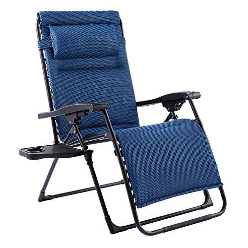 VONLUCE Chaise Longue Inclinable, Fauteuil Relax pour Bain de Soleil, Transat Pliable pour Jardin Plage Extérieur, Chaise de Jardin avec Support de Gobelet (1 x Bleu avec Coussin)