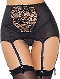 ohyeahlady Femme Porte-jarretelles Grande Taille Haute avec Dentelle Lingerie Jarretière avec G-string Noir Blanc Rouge en Resille Transparent