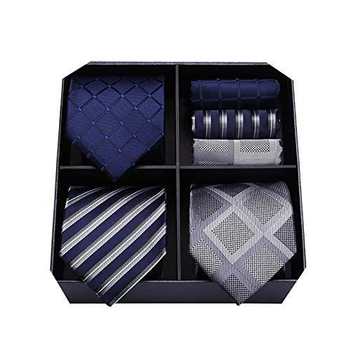 HISDERN Lot 3 PCS Classique elegant Pour des hommes Ensemble de cravate en soie Cravate & Carre de poche - Ensembles multiples 8.5cm Taille standard