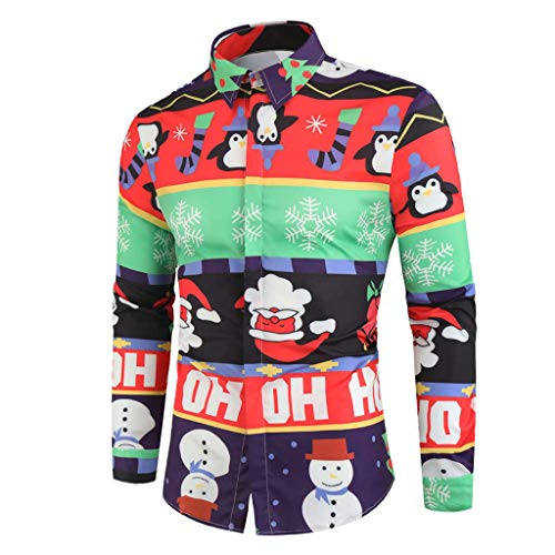 iHAZA Homme Chemise Noël 3D Funky Christmas Shirt Manches Longues Button Down Slim Fit Casual...