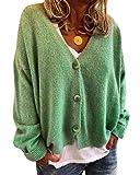 Minetom Gilet Femme Tricot Chandail avec Poches Veste Boutons Cardigan Chic Crochet Sweater Ouvert Elégant Manches Longues Casual Vintage Printemps Automne Vert 34