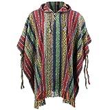 LOUDelephant Poncho à capuche 100% coton tissé Gheri Style mexicain - Multicolore - Taille unique