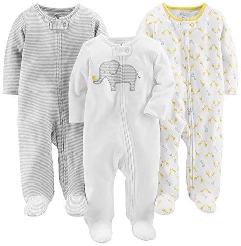 Simple Joys by Carter's 3-pack Neutral Sleep and Play Foot Elephant, Stripe, Giraffe 3 - 6 Months Lot de, 1